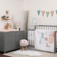 Carter's Woodland Meadow Forest/Deer/Owl 3 piece Nursery Crib Bedding Set, Peach/Aqua/White - Dress My Baby Girl Baby Bedroom, Baby Boy Rooms, Baby Room Decor, Nursery Decor, Themed Nursery, Nursery Ideas, Room Boys, Project Nursery, Master Bedroom