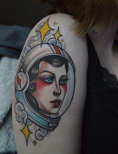 Astronaut lady by Abby Lynn Williams at Icon Tattoo in Portland, Oregon #tattoo #astronaut #lady #woman #female #space #stars #icon #aladdinsane #davidbowie