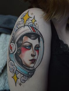 Astronaut lady by Abby Lynn Williams at Icon Tattoo in Portland, Oregon #tattoo #astronaut #lady #woman #female #space #stars #icon #aladdinsane #davidbowie