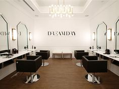 rachel zoe blow dry bar new york - Google Search Love the chairs, mirrored vanities, mix of chrome and brass