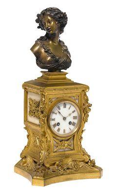 Bonhams : The Elegant Home reloj frances de bronce dorado y patinado, siglo 19, 16 noviembre 2016.