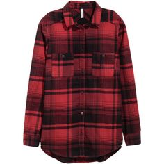 Plaid Flannel Shirt $34.99 ($35) ❤ liked on Polyvore featuring tops, chemise, shirts, long sleeve flannel shirts, red long sleeve shirt, long-sleeve shirt, long sleeve tops and flannel shirts