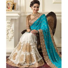 Latest designer blouse bollywood indian wedding blue gold saree georgette net