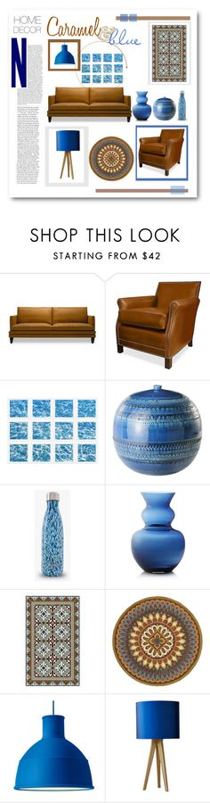 """""""Caramel & Blue"""" by sherrie-mock ❤ liked on Polyvore featuring interior, interiors, interior design, home, home decor, interior decorating, William Stafford, Bitossi, Crate and Barrel and Beija Flor"""