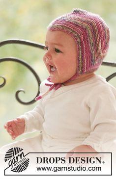Gestrickte Mütze mit Krausrippen für Babys und Kinder in DROPS Fabel