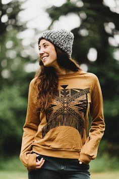 Xochitl    Hand Printed Fleece Sweatshirt, Camel and Black, unisex sweatshirt, raglan, pullover, clothing for camping    by Simka Sol