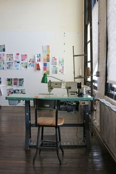 Denyse Schmidt's Sewing Room - industrial sewing machine, oh yeah!