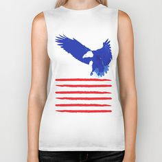 Flying The Flag Biker Tank by Fimbis - $28.00  #fimbis #society6 #tee #bikertee #eagle #bird #america #usa #flag #cute #blue #fashionblogger #red #fashion #flying #stripes