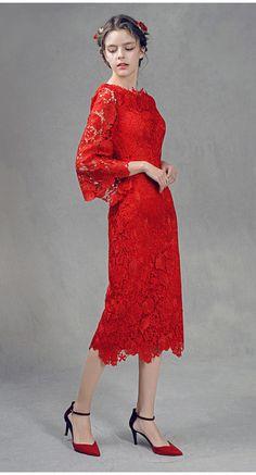 Red-Flower-Leaf-Lace-Dress5