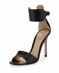 Zoom +  Video +                                     gianvito RossiLeather Cuff Ankle-Wrap Sandal, Black