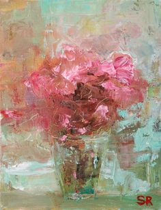 Roses Painting Flower Art Original Pink in Blue Vase by Sam Raines