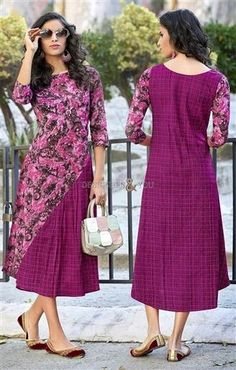 #Designers#And#You To Stay Ahead Of The Fashion Curve Atypical #Pink #FrockStyle Kurti Best For Every Shape. This #Pre_Stitched #Frock #Style #Aline Calf Length #CottonTop Consists Of Round Neckline & Three Fourth Sleeves. #Modern #Art Type #Print Is Adding Class To This #GatheringTop. It Is Okay To Pair With #Formal #Trousers For #ModernLook. #DesignersAndYou