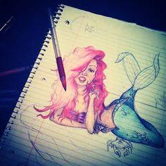 Beautiful little mermaid drawing