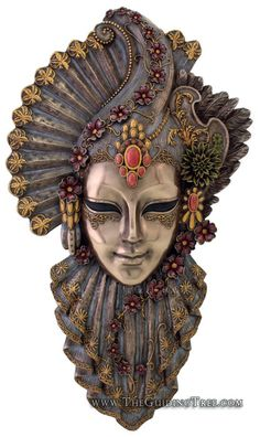Venetian Mask Wall Plaque - Charm - Cold Cast Bronze [TL322000235] - $64.00 : Unique Gifts for Body Mind and Spirit | Metaphysical, Conscious Living, Personal Growth and Development | Statuary, Tarot, New Age Music, Books, Home and Altar Decor, The Guiding Tree