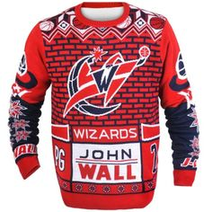 Washington Wizards John Wall Official NBA Ugly Sweater - Arrive to all your holiday gatherings in style when you rock this ugly sweater. It features allover Washington Wizards graphics that's sure to catch the eyes all your friends.