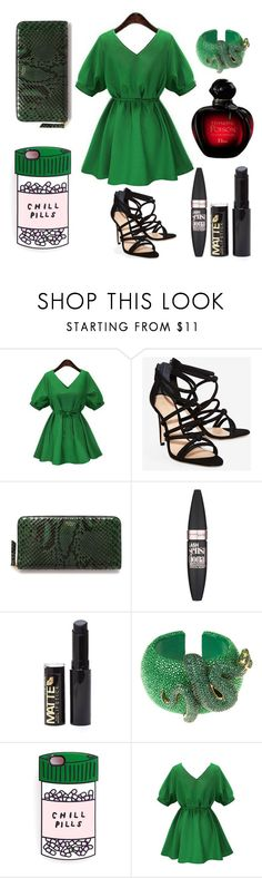 """Slytherin Outfit"" by red-black-grey on Polyvore featuring Schutz, Mulberry, Maybelline and Latelita"