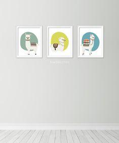 Llama print set Set of 3 printables Alpaca art prints