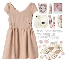 """fleurs roses"" by child-of-the-tropics ❤ liked on Polyvore featuring TokyoMilk, Polaroid, Topshop, Diptyque and Band of Outsiders"