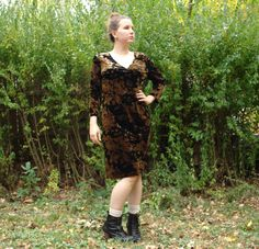 Vintage Velour Floral Dress. Gold and Black. Body Con. by blissjoybull, $45.00. 1990's. medium, large. eco friendly.
