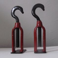 Pair of Vintage Red and Black Hook Bookends by TabDesign on Etsy, $50.00