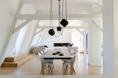 A wonderful, minimalist attic apartment, full of light. Located in Strasbourg, France; recently renovated by f+f architectes.