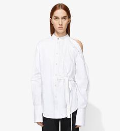 Cotton One Shoulder Button Down