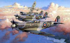 Escuadrilla de Supermarine Spitfire Mk.V, pertenecientes al Escuadrón 303 (escuadrón polaco). Cuadro de Jaroslaw Wróbel. Más en www.elgrancapitan.org/foro