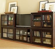 love these book shelves...maybe good for under the tv