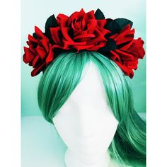 Bridal Christmas Winter Red Black Rose Flower Crown Wedding Headband ($35) ❤ liked on Polyvore featuring accessories, hair accessories, bride flower crown, red headband, red christmas garland, christmas garland and red rose headband