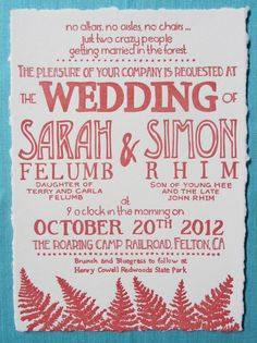 Letterpress Wedding Invitations - In the Woods (Deckled Edges). $4.00, via Etsy.