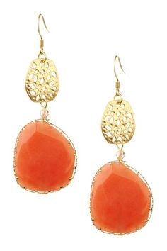 "4th of July Jewelry Blowout  Monique Leshman Coral Agate Drop Earrings  $36.00  $95.00  62% off  Item is sold out   Return to Event  Estimated Delivery Dates  Fri 07/13/12 to Tue 07/17/12  Non returnable    About This Item  - Gold plated cutout disk and freeform coral agate drop earrings  - French hook back  - Approx. 3"" length  - Imported    Materials  Gold plated brass, agate"