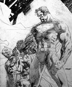 Jim Lee sketch of Batman and Superman