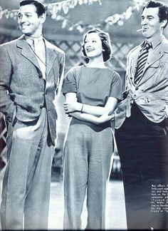 Clark Gable, Myrna Loy & Walter Pigeon on the set of Too Hot to Handle