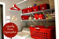 """Laundry Room Organization - Love the pop of RED and the 2 signs (""""Laundry makes me a basket case"""" & """"Laundry Room - drop your pants here"""")"""