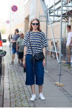 blue sweater, trousers, white sneakers Street spring summer women fashion @roressclothes closet ideas