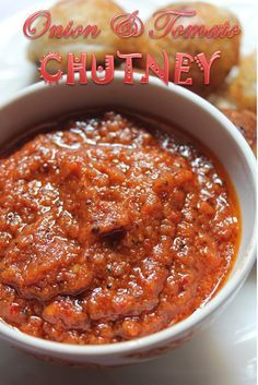 This TUMMY: Easy Onion Tomato Chutney Recipe / Red Chutney for Idli Dosa is a good for our dinner made with wholesome ingredients! Veg Recipes, Curry Recipes, Vegetarian Recipes, Cooking Recipes, Recipies, Indian Chutney Recipes, Indian Food Recipes, Onion Chutney Indian, South Indian Tomato Chutney
