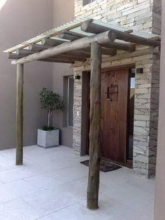 06-1 FACHADA DE CASA RUSTICA CON portico de troncos #casasrusticasdemadera