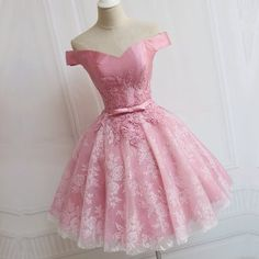 Sale Outstanding Prom Dresses Lace, Elegant Pink Lace Appliques Satin Off The Shoulder Homecoming Dress Short Prom Dress Elegant Prom Dresses, Prom Party Dresses, Homecoming Dresses, Beautiful Dresses, Evening Dresses, Pink Dresses, Dress Party, Sleeveless Dresses, Prom Gowns