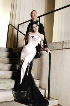 White and black corseted mermaid dress