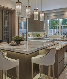 What's your favorite feature in this space? Beautifully executed by the talent… – dekorasyon Open Plan Kitchen Living Room, Home Decor Kitchen, Kitchen Interior, New Kitchen, Home Interior Design, Home Kitchens, Beautiful Kitchen Designs, Beautiful Kitchens, Affordable Home Decor