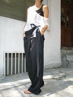 Loose lin noir pantalon / jambe large pantalon automne par Aakasha