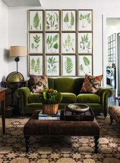 retro wohnzimmer ideen You are in the right place about living room navy Here we offer you the most Green Velvet Sofa, Green Sofa, Green Couch Decor, Olive Green Couches, Purple Velvet, Green Home Decor, Retro Home Decor, Olive Green Decor, Green Decoration