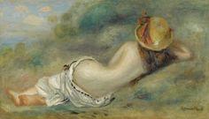 Pierre-Auguste Renoir (1841-1919) Baigneuse Allongee De Dos Avec Un Chapeau De Paille 1892 (27 by 46 cm)