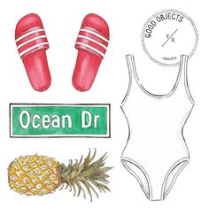 Good objects - Beach essentials - Adidas x UO scarlet Adilette slide sandal @adidasoriginals @uo_miami Solid & Striped one-piece white swimsuit #goodobjects #miami #illustration