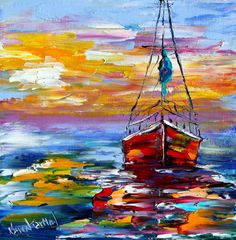 Original oil painting Sunset BOAT PALETTE KNIFE by Karensfineart