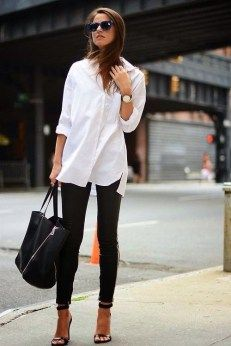 Black jeans and white button down