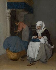 Handwerkende vrouw bij een wieg, Gerard ter Borch, c. 1656.