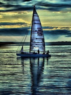 Amazing photo! Sailboat in Blue Sunset !IEC