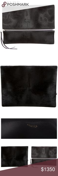 """NWT CÉLINE CLUTCH Céline Oversize Black ponyhair Zip Clutch features silver-tone hardware, black leather interior and flap with zip closure at front. Color: Black. Material: Leather.  Approx. Measurements: Height 10.5"""", Width 13.5"""", Depth 0.5"""".  Collection: Condition: 2012 Collection by Phoebe Philo. SOLD OUT! Pristine-NWT Includes dust bag. Posh Concierge will Authenticate for FREE! Celine Bags Clutches & Wristlets"""