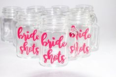 Bride Shot Glass/Party Shots/Hen Party/Hen Shot Glass/Mason Jar Shots/Bride Favour/Hen Gift/Hen Weekend/Hen Party/Shot Glass/Bride to Be Party Shots, Mason Jar, Shot Glass, Wine Glass, Water Bottle, Bride, Drinks, Tableware, Unique Jewelry